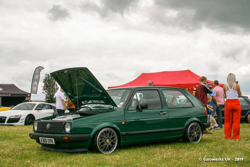 MK2 Golf and a Lady in red pants at Dubfiction 2019